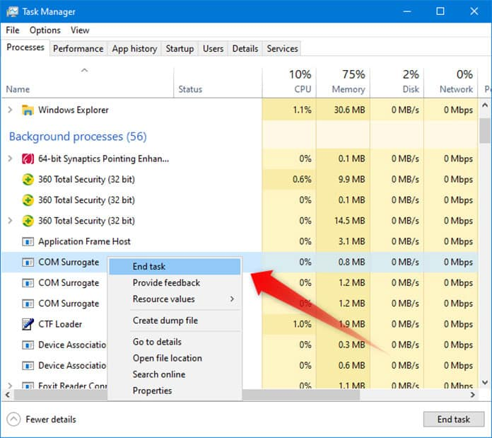 closing unnecessary background processes in task manager