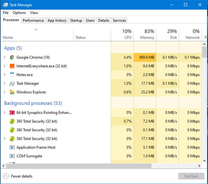 windows processes running in the background